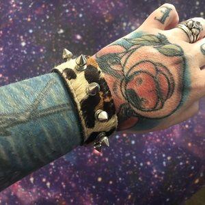 Jewelry - Leather Pony Hair Leopard Spike Cuff Bracelet Punk